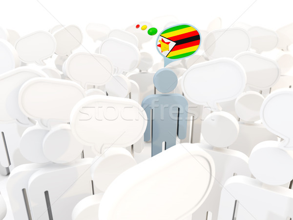 Homme pavillon Zimbabwe foule 3d illustration signe Photo stock © MikhailMishchenko