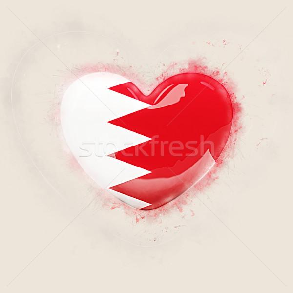 Kalp bayrak Bahreyn grunge 3d illustration seyahat Stok fotoğraf © MikhailMishchenko
