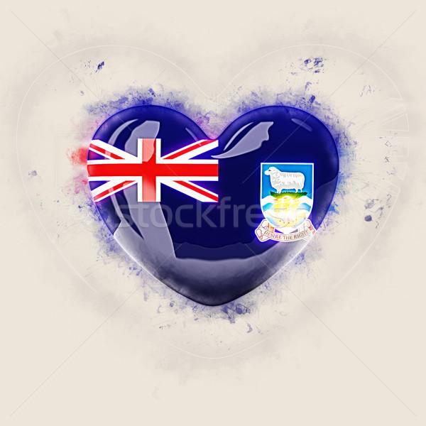 Szív zászló Falkland-szigetek grunge 3d illusztráció utazás Stock fotó © MikhailMishchenko