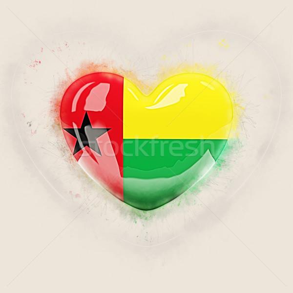 Kalp bayrak Gine grunge 3d illustration seyahat Stok fotoğraf © MikhailMishchenko