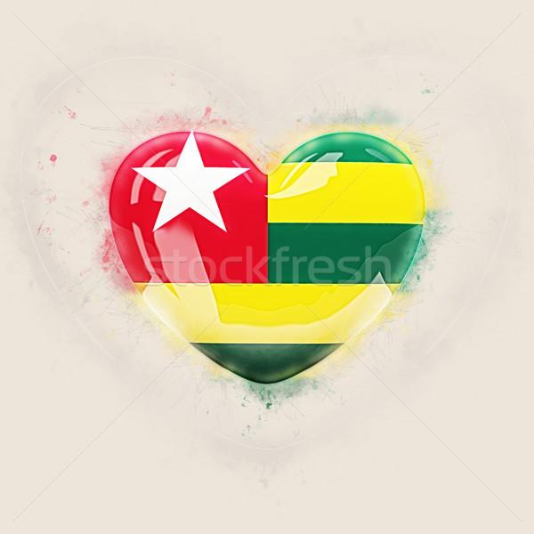 Serca banderą Togo grunge 3d ilustracji podróży Zdjęcia stock © MikhailMishchenko