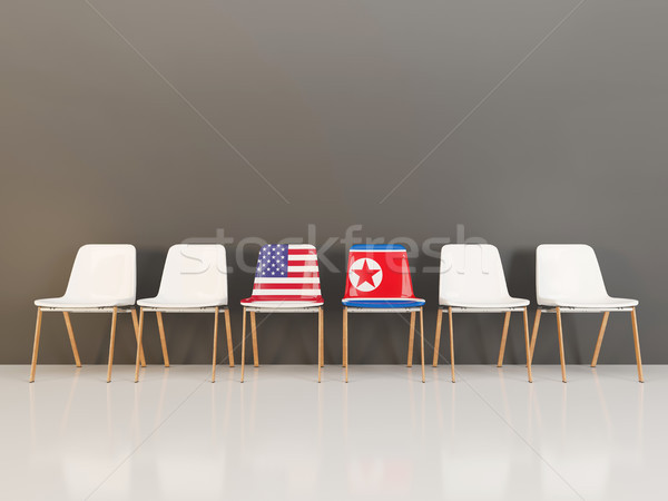 Chairs with flag of usa and north korea Stock photo © MikhailMishchenko