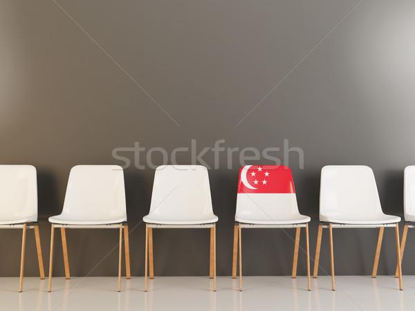 Sandalye bayrak Singapur beyaz sandalye Stok fotoğraf © MikhailMishchenko