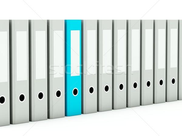 Photo stock: Dossiers · isolé · blanche · bleu · gris · bureau