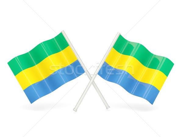 флаг Габон два волнистый флагами изолированный Сток-фото © MikhailMishchenko