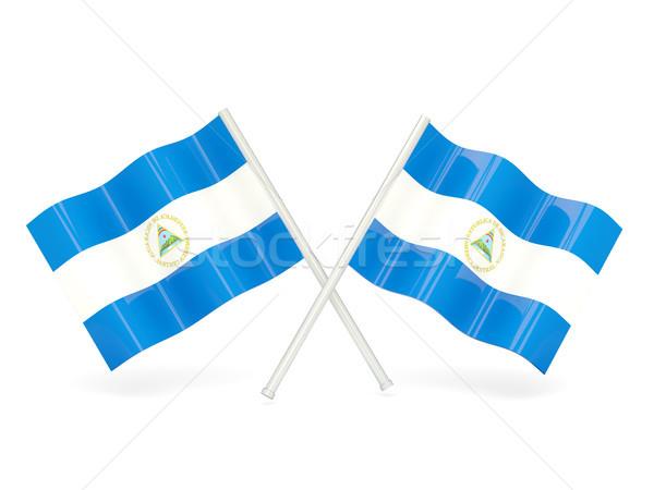 Zászló Nicaragua hullám tő szalag Hongkong Stock fotó © MikhailMishchenko
