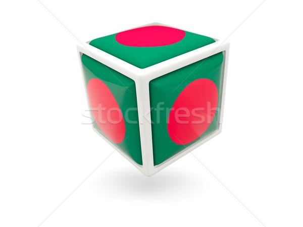 Stock fotó: Zászló · Banglades · kocka · ikon · izolált · fehér