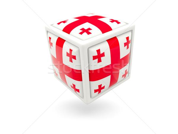 Stok fotoğraf: Bayrak · Georgia · küp · ikon · yalıtılmış · beyaz