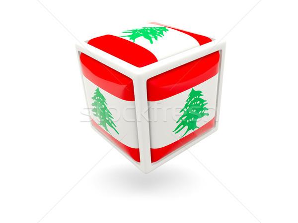 Pavillon Liban cube icône isolé blanche Photo stock © MikhailMishchenko
