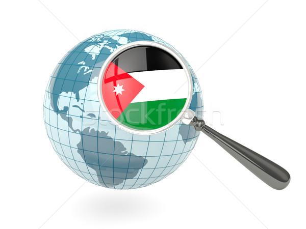 Vlag Jordanië Blauw wereldbol geïsoleerd Stockfoto © MikhailMishchenko