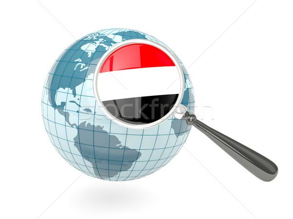 Vlag Jemen Blauw wereldbol geïsoleerd Stockfoto © MikhailMishchenko