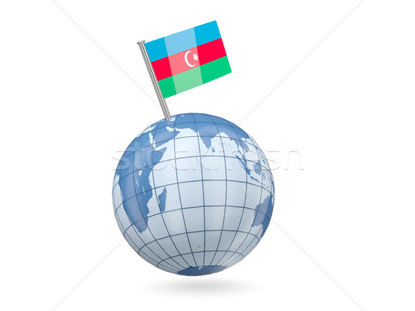 Globo bandeira Azerbaijão azul isolado branco Foto stock © MikhailMishchenko