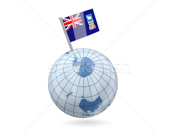 Földgömb zászló Falkland-szigetek kék izolált fehér Stock fotó © MikhailMishchenko