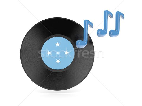 Vinil disco bandeira Micronésia isolado branco Foto stock © MikhailMishchenko