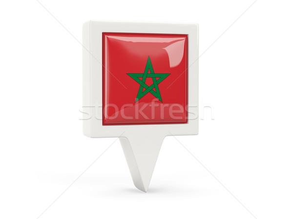 Tér zászló ikon Marokkó izolált fehér Stock fotó © MikhailMishchenko