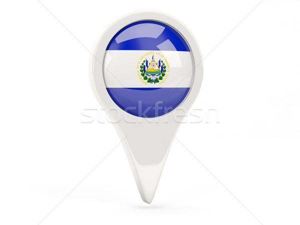 Bandeira ícone El Salvador isolado branco mapa Foto stock © MikhailMishchenko