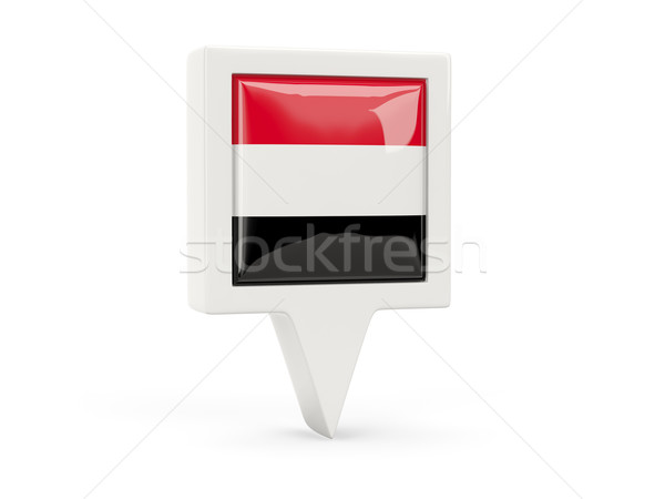 Tér zászló ikon Jemen izolált fehér Stock fotó © MikhailMishchenko