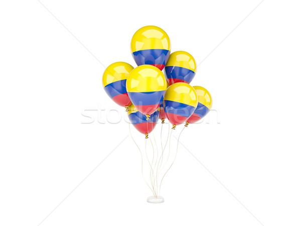 Vliegen ballonnen vlag Colombia geïsoleerd witte Stockfoto © MikhailMishchenko