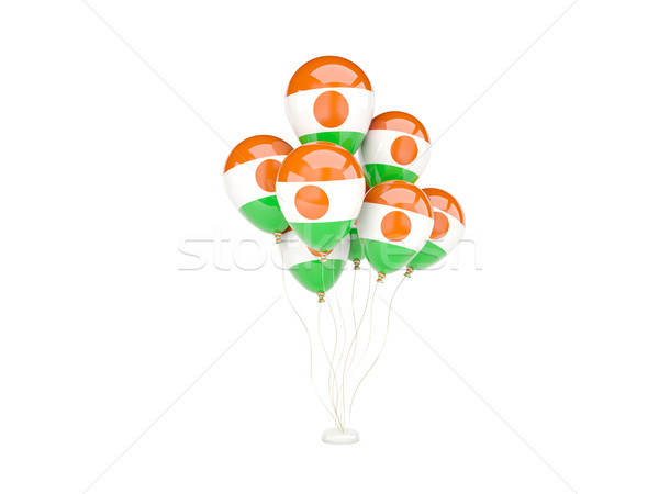 Flying balloons with flag of niger Stock photo © MikhailMishchenko