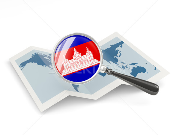 Magnified flag of cambodia with map Stock photo © MikhailMishchenko