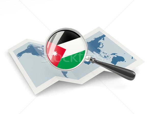 Magnified flag of jordan with map Stock photo © MikhailMishchenko