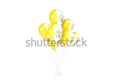 Pływające balony banderą Watykan odizolowany biały Zdjęcia stock © MikhailMishchenko