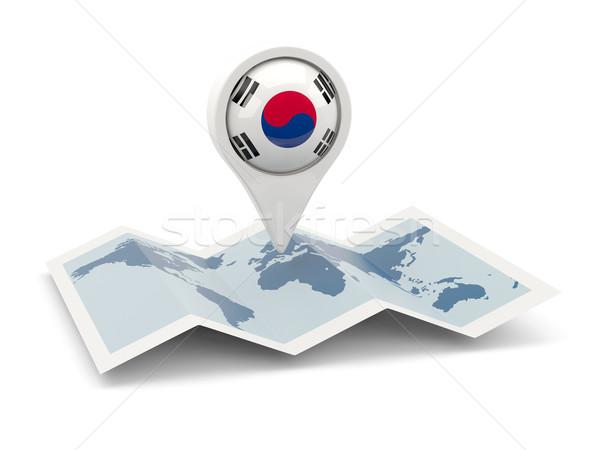 Round pin with flag of south korea Stock photo © MikhailMishchenko