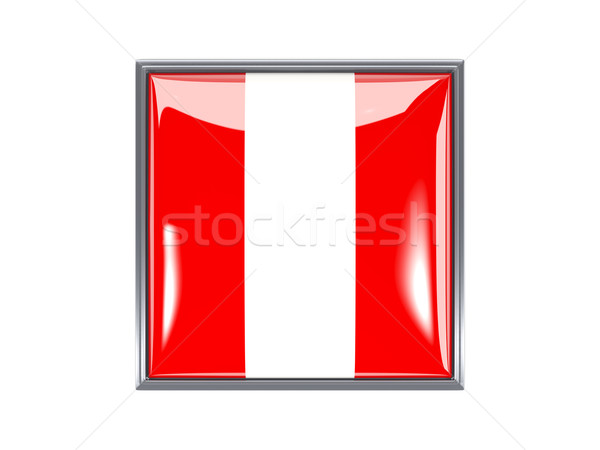Praça ícone bandeira Peru metal quadro Foto stock © MikhailMishchenko