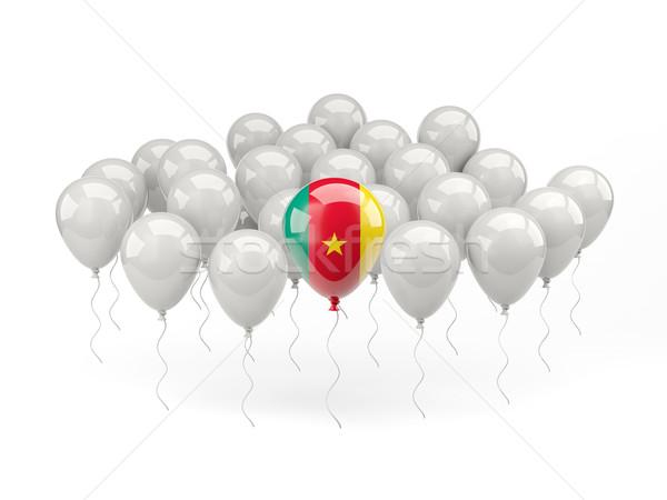 Lucht ballonnen vlag Kameroen geïsoleerd witte Stockfoto © MikhailMishchenko