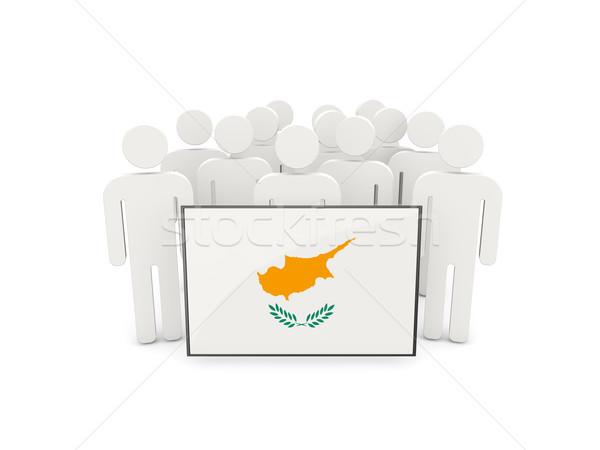 Emberek zászló Ciprus izolált fehér tömeg Stock fotó © MikhailMishchenko