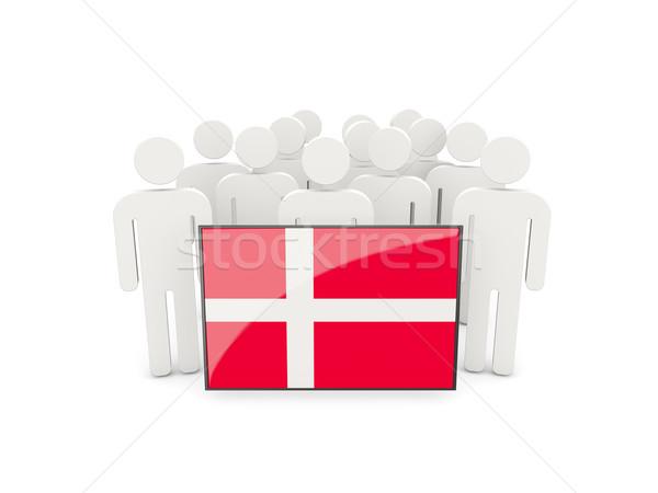Pessoas bandeira Dinamarca isolado branco multidão Foto stock © MikhailMishchenko