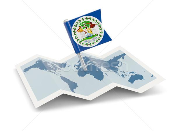 Térkép zászló Belize izolált fehér Stock fotó © MikhailMishchenko
