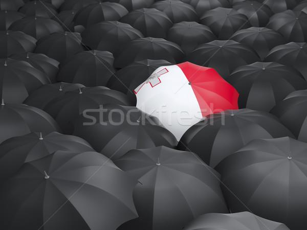 Guarda-chuva bandeira Malta preto guarda-chuvas viajar Foto stock © MikhailMishchenko