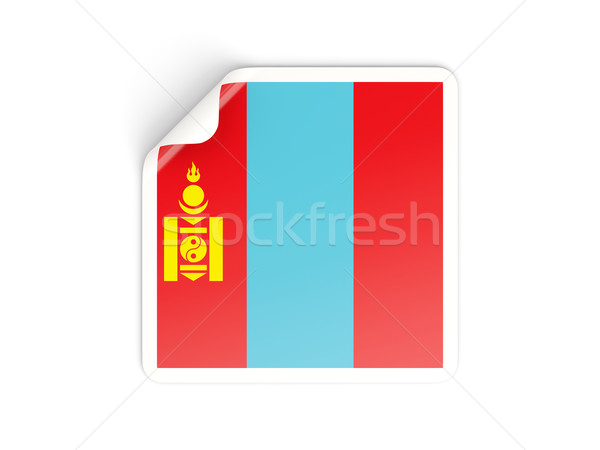 Vierkante sticker vlag Mongolië geïsoleerd witte Stockfoto © MikhailMishchenko