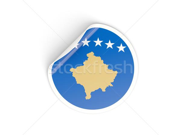 Adesivo bandeira Kosovo isolado branco viajar Foto stock © MikhailMishchenko
