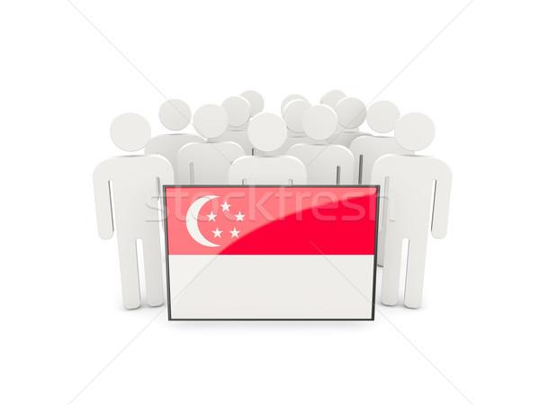 Persone bandiera Singapore isolato bianco folla Foto d'archivio © MikhailMishchenko