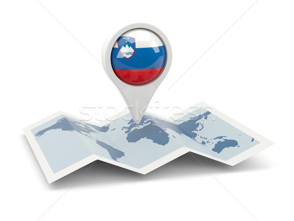 Pin bayrak Slovenya harita seyahat beyaz Stok fotoğraf © MikhailMishchenko