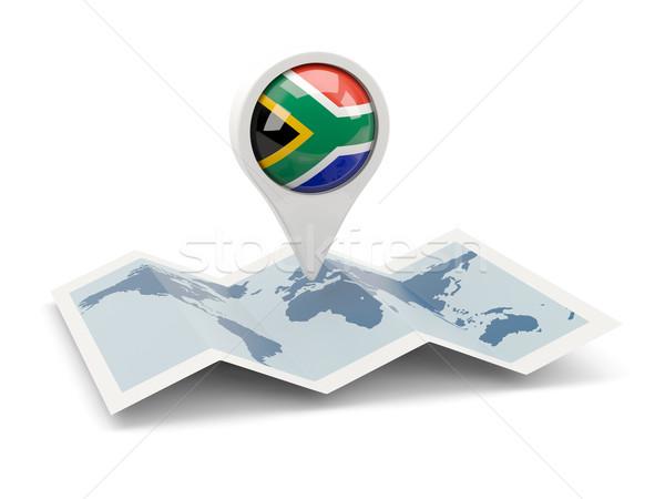 Pin флаг ЮАР карта путешествия белый Сток-фото © MikhailMishchenko