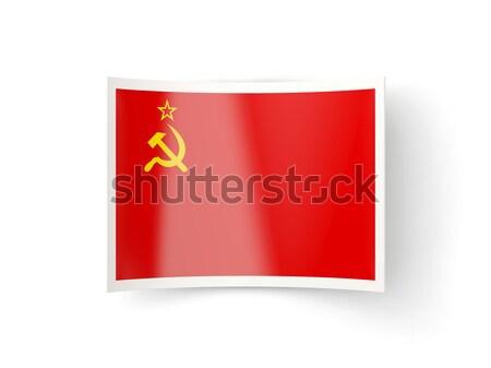 Kare Metal düğme bayrak sscb yalıtılmış Stok fotoğraf © MikhailMishchenko