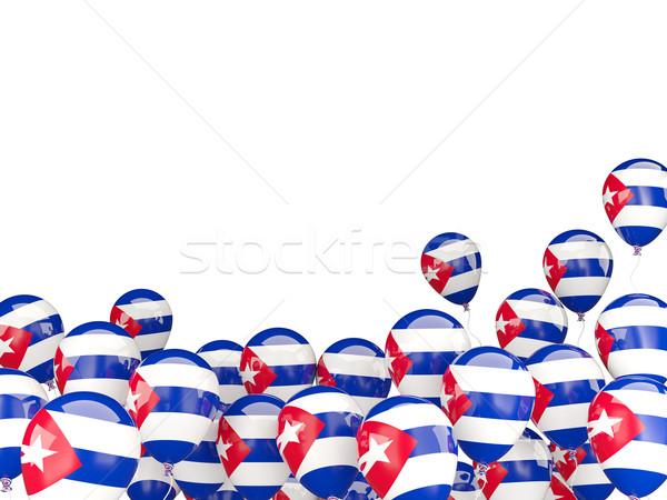 Flying шаров флаг Куба изолированный белый Сток-фото © MikhailMishchenko