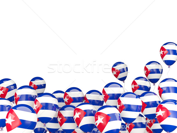 Battant ballons pavillon Cuba isolé blanche Photo stock © MikhailMishchenko
