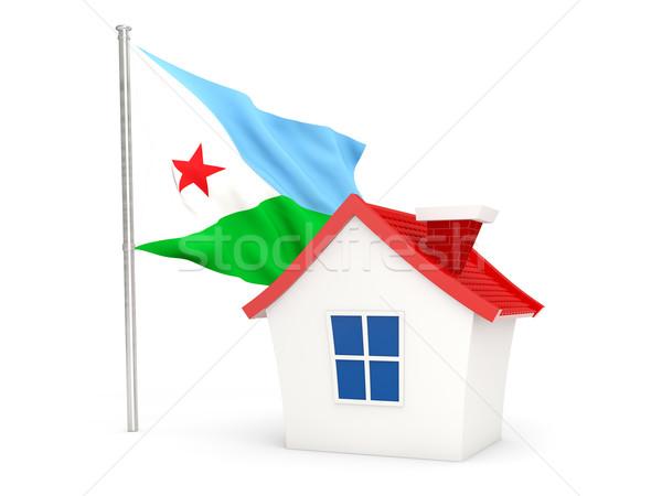 Domu banderą Dżibuti odizolowany biały domu Zdjęcia stock © MikhailMishchenko