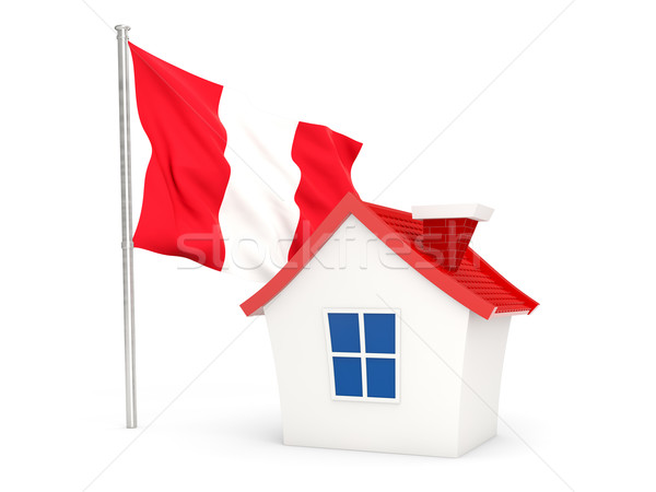 Casa bandeira Peru isolado branco casa Foto stock © MikhailMishchenko
