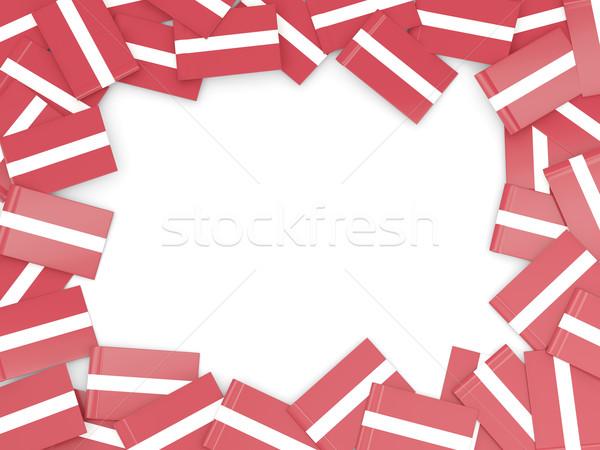Keret zászló Lettország izolált fehér Stock fotó © MikhailMishchenko