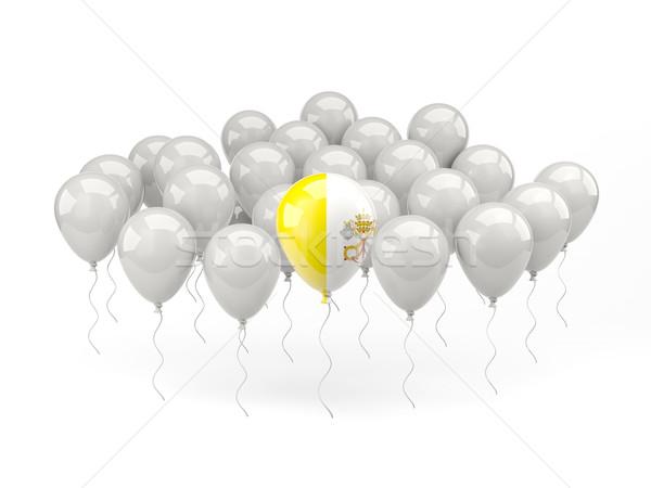 Powietrza balony banderą Watykan odizolowany biały Zdjęcia stock © MikhailMishchenko