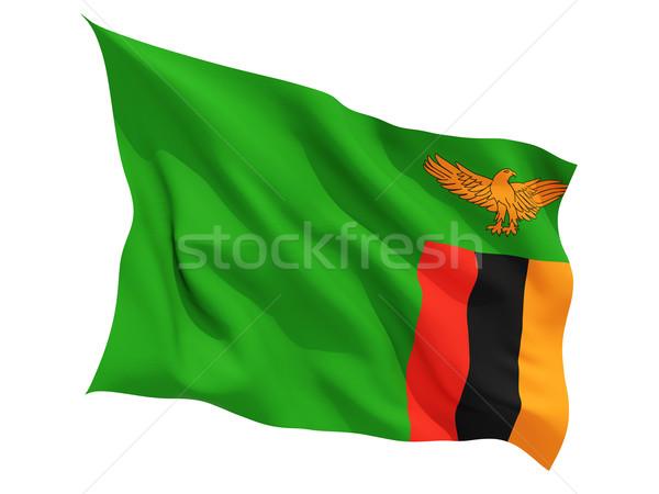 Stock fotó: Integet · zászló · Zambia · izolált · fehér