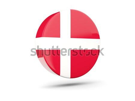 Sticker vlag Denemarken geïsoleerd witte reizen Stockfoto © MikhailMishchenko
