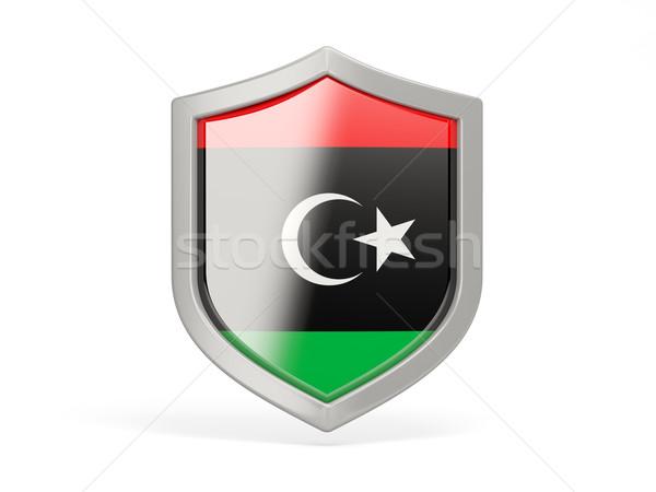 Tarcza ikona banderą Libia odizolowany biały Zdjęcia stock © MikhailMishchenko