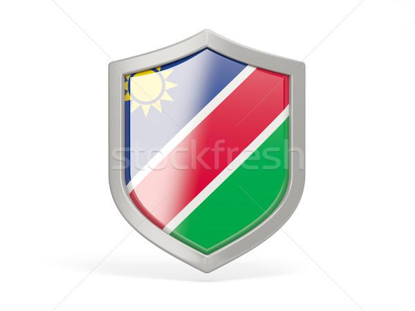 Tarcza ikona banderą Namibia odizolowany biały Zdjęcia stock © MikhailMishchenko