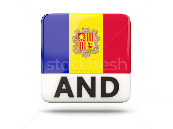 Vierkante icon vlag Andorra iso code Stockfoto © MikhailMishchenko